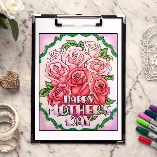 Happy Mother's Day free coloring page | Find more free adult coloring pages and Mother's Day printables at www.sarahrenaeclark.com | Colored by Raychell Henry