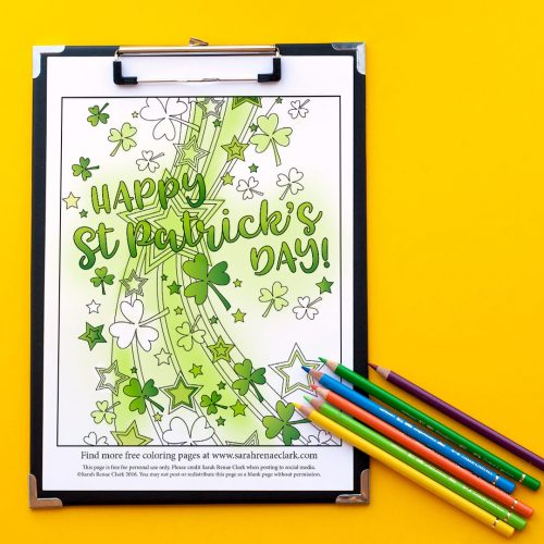 Free St Patrick's Day coloring page by Sarah Renae Clark | Find more free coloring pages and printables at www.sarahrenaeclark.com