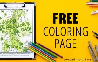 Happy St Patrick's Day free coloring page for adults | Find more free coloring pages and printables at www.sarahrenaeclark.com
