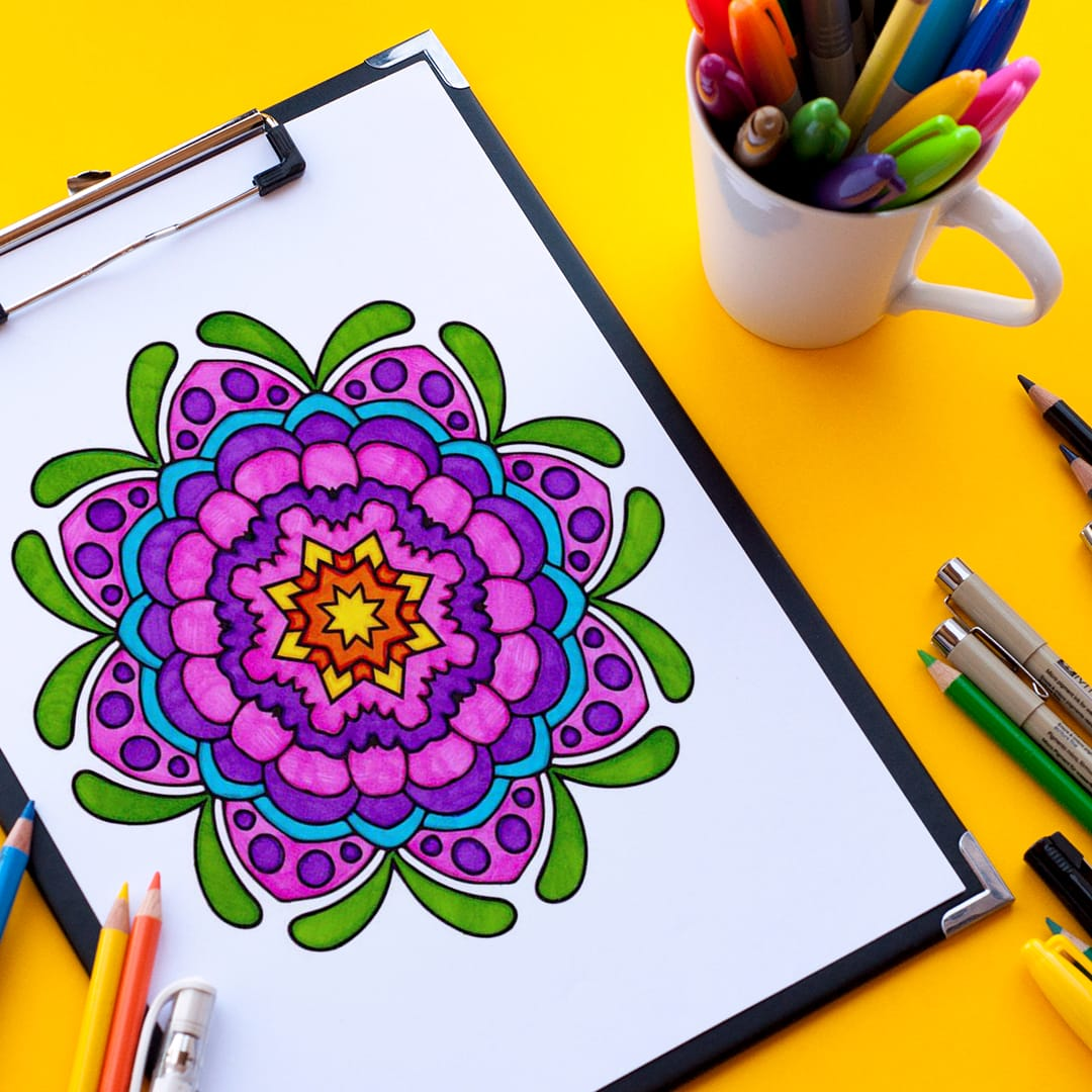 Free coloring page - Kaleidoscope flower mandala pattern printable coloring page | Find more free coloring pages at www.sarahrenaeclark.com