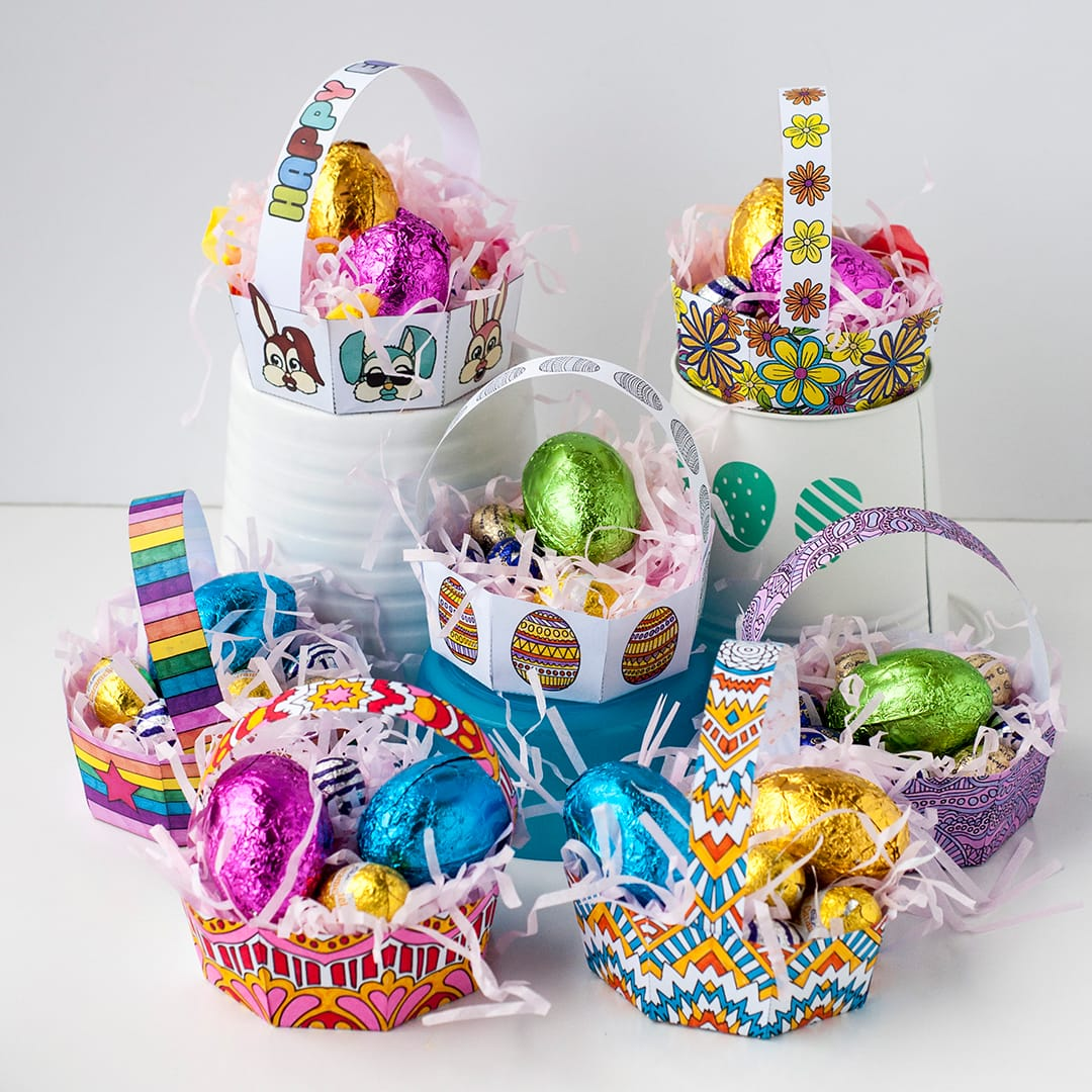 Make your own Easter egg baskets with this PDF template and easy tutorial by Sarah Renae Clark. Click to get started! http://sarahrenaeclark.com