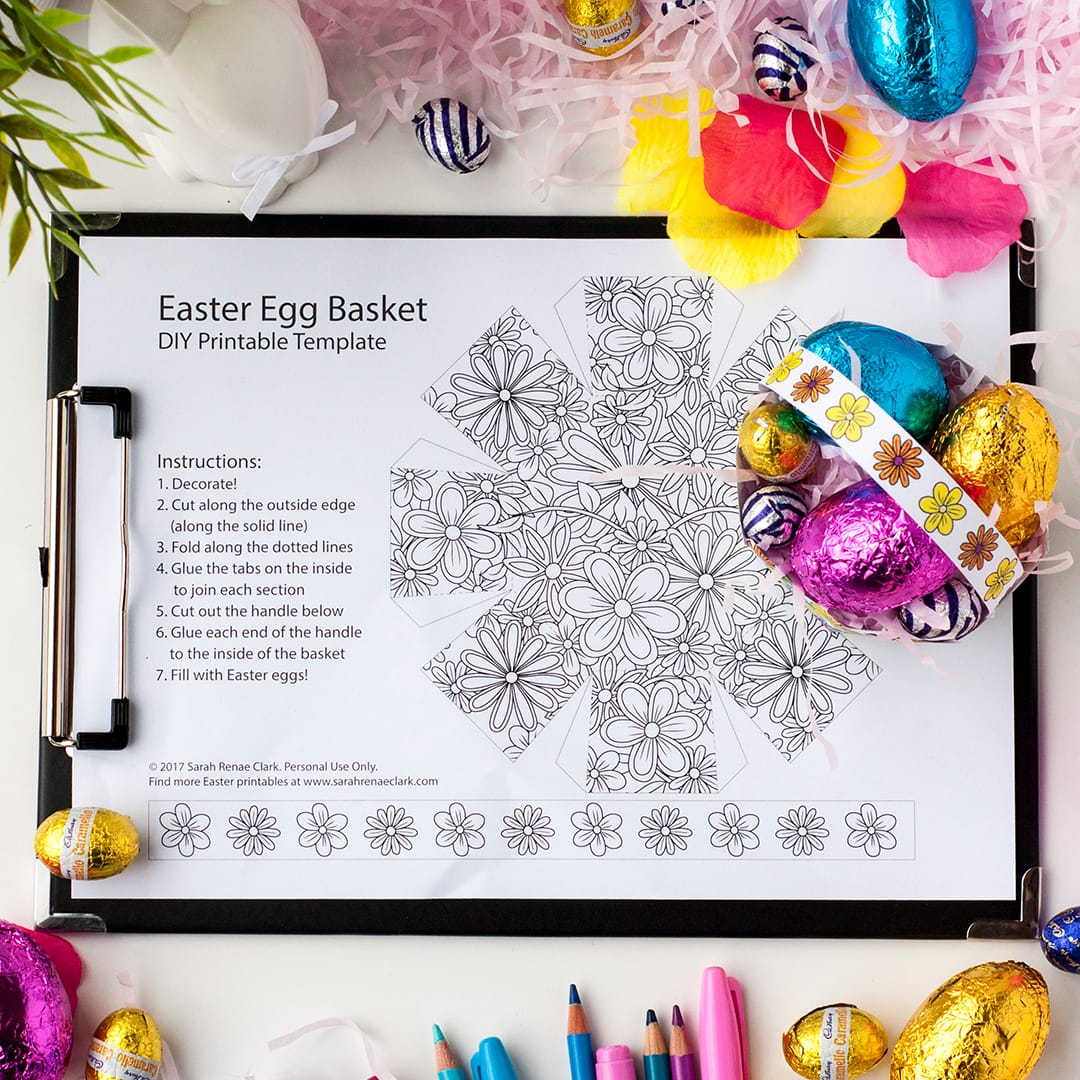 Make this cute DIY Easter egg basket with this free printable template by Sarah Renae Clark. | For more free coloring pages and Easter printables, visit www.sarahrenaeclark.com