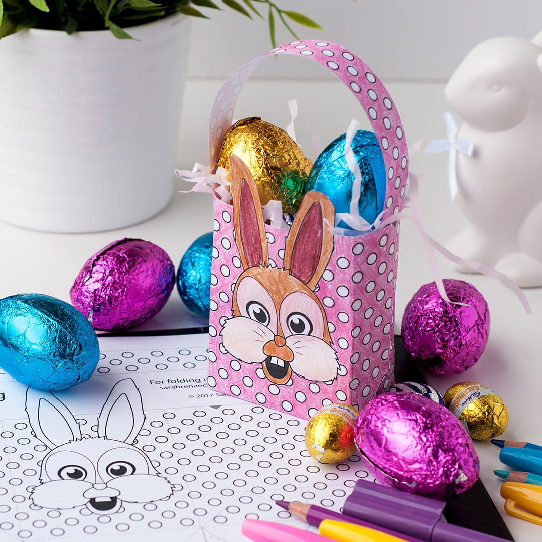 Free diy easter gift bag template sarah renae clark coloring diy easter gift bag free printable template to make your own easter paper gift bags negle