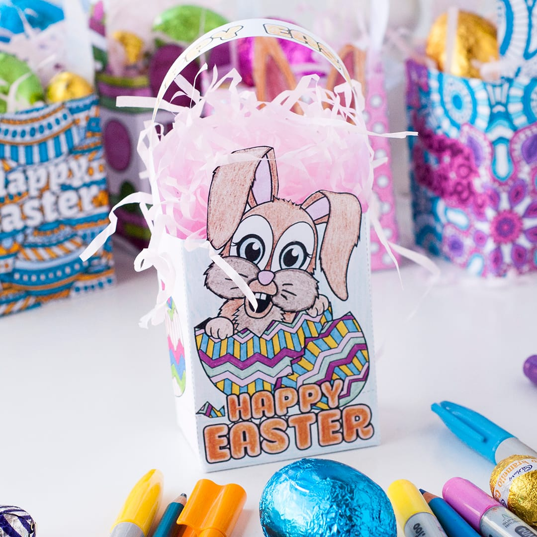 Aren't these cute? These mini Easter gift bags are easy to make, and there are 8 designs to choose from. Find more Easter printables, craft templates and coloring pages at https://sarahrenaeclark.com/shop/cat/seasonal/easter