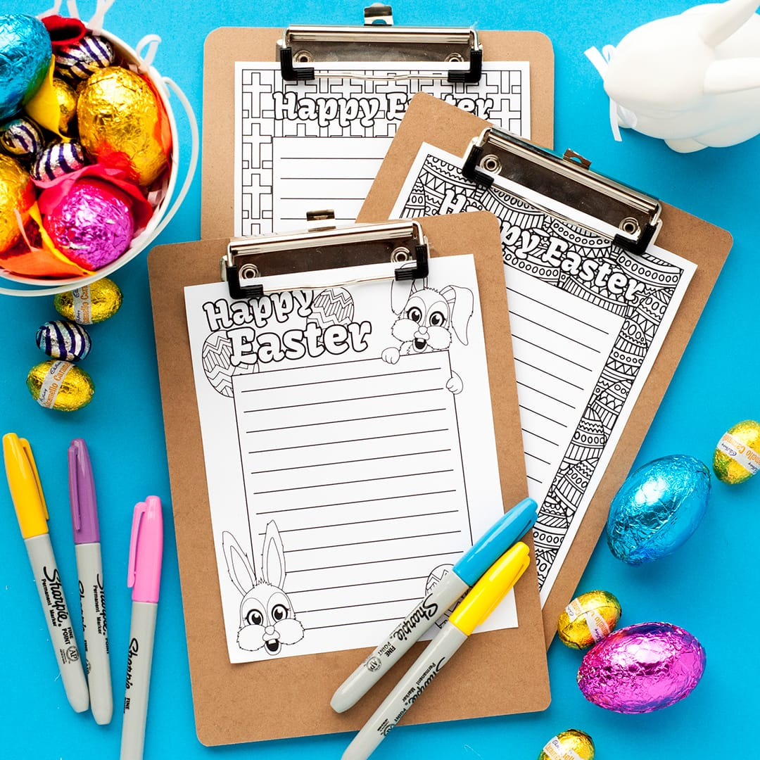 Cute printable stationery for Easter - write a letter to the Easter bunny, or keep track of important shopping lists! Find more Easter printables, craft templates and coloring pages at https://sarahrenaeclark.com/shop/cat/seasonal/easter