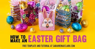 Make your own mini Easter gift bags with this free template and easy tutorial by Sarah Renae Clark. Click to get started! https://sarahrenaeclark.com/2017/mini-easter-gift-bag/
