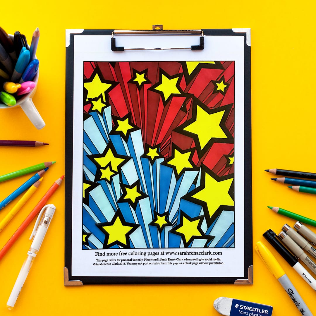 3d Stars free printable adult coloring page - Colored by Jennifer | find more free coloring pages for kids and grown ups at www.sarahrenaeclark.com