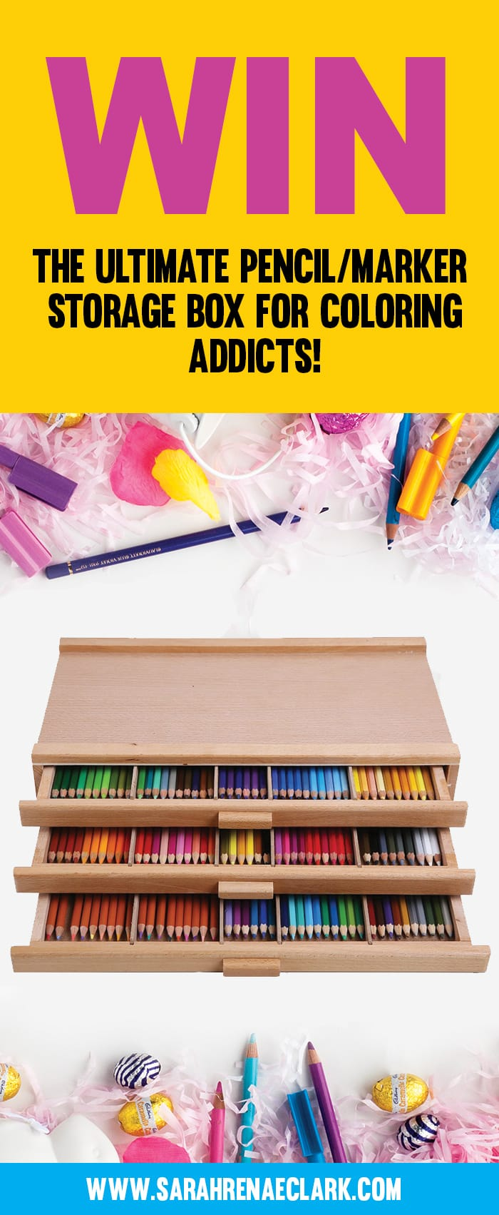 Win this awesome art and pencil storage in my latest giveaway! To make sure you always find my latest coloring giveaway, check out www.sarahrenaeclark.com/giveaways/