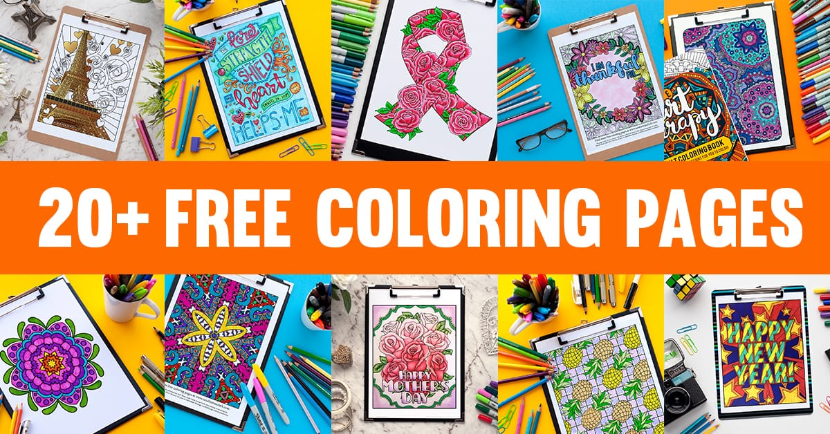 Read my blog post on 20+ free coloring page for adults by Sarah Renae Clark