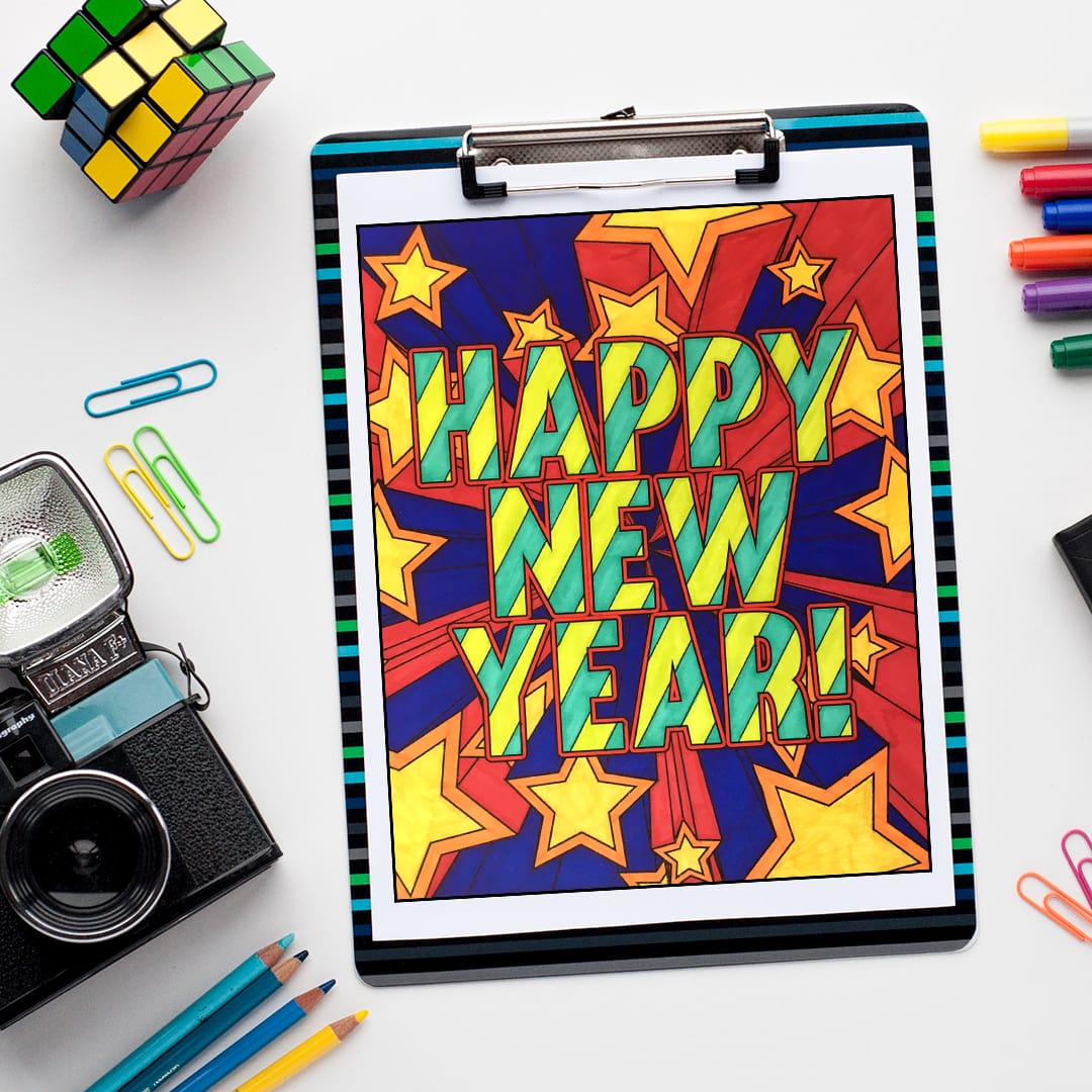 Happy New Year - Free coloring page by Sarah Renae Clark | Find more free adult coloring pages and printables at www.sarahrenaeclark.com