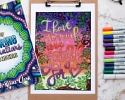 I have so much to be grateful for - colored by Debbie Shepard from Coloring Affirmations For Every Mom - An adult coloring book with 30 affirmation coloring pages for moms | A great Mother's Day gift idea or Baby Shower gift idea! | More printable coloring books at www.sarahrenaeclark.com