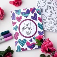 This free printable Mother's Day card is fun to color in and a great way to personalize your Mother's Day gift! This is a sample card from my pack of 8 coloring cards for Mother's Day   Find more Mother's Day printables and free coloring pages at https://sarahrenaeclark.com/shop/cat/seasonal/mothers-day/