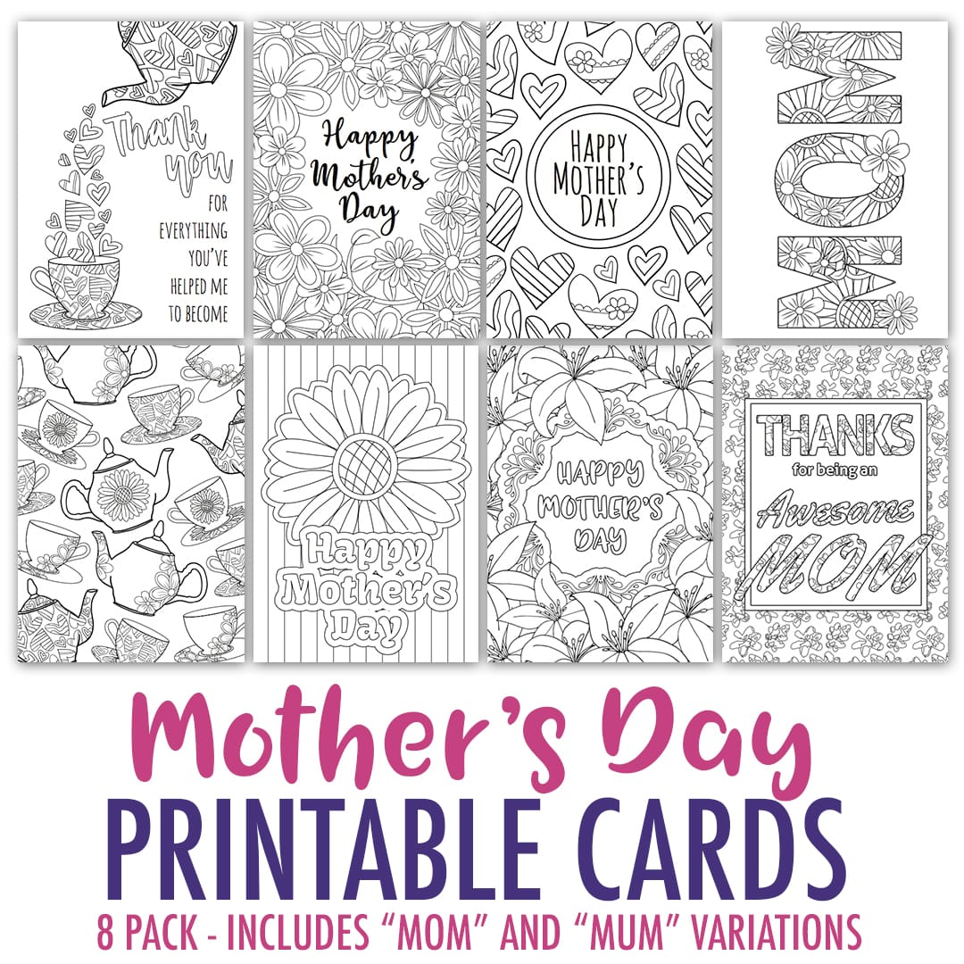 graphic about Printable Mothers Day Cards to Color Pdf identified as Moms Working day Coloring Playing cards 8 Pack