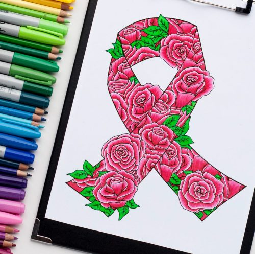 This awareness ribbon coloring page is free! download and print then color for your cause. Find more free adult coloring pages at www.sarahrenaeclark.com | Free adult coloring page, cancer coloring pages, free awareness ribbon, coloring for adults