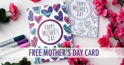 This free printable Mother's Day card is fun to color in and a great way to personalize your Mother's Day gift! This is a sample card from my pack of 8 coloring cards for Mother's Day | Find more Mother's Day printables and free coloring pages at https://sarahrenaeclark.com/shop/cat/seasonal/mothers-day/