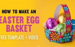 Make an Easter egg basket with this free template and easy tutorial by Sarah Renae Clark. Click to get started! https://sarahrenaeclark.com/2017/how-to-make-easter-egg-basket-free-template/
