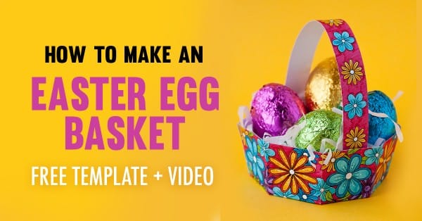 Make an Easter egg basket with this free template and easy tutorial by Sarah Renae Clark. Click to get started! http://sarahrenaeclark.com/2017/how-to-make-easter-egg-basket-free-template/