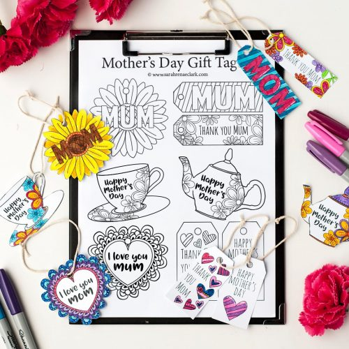 "These printable Mother's Day gift tags are fun to color in and a great way to personalize your Mother's Day gift! 8 Designs available to color for Mother's Day - Both ""mom"" and ""mum"" spellings are available 