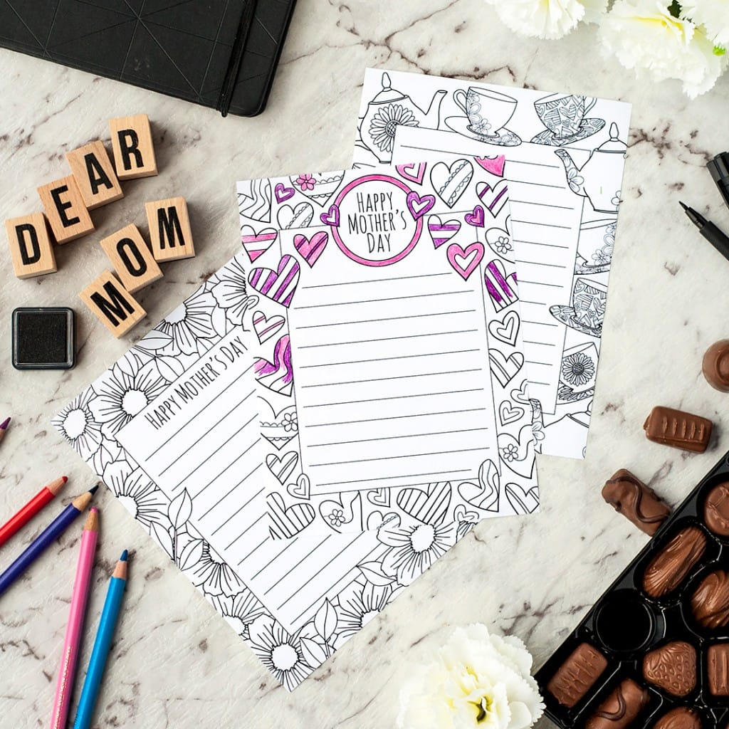 mother 39 s day stationery 3 pack sarah renae clark coloring book artist and designer. Black Bedroom Furniture Sets. Home Design Ideas