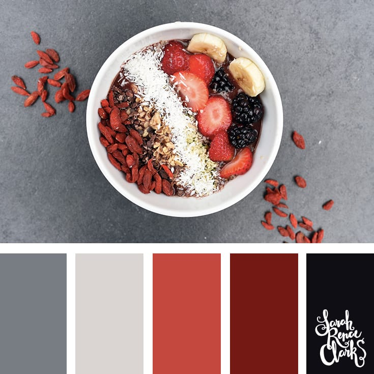 reds and grays - I love this color palette! | Click for more color combinations and color palettes inspired by the Pantone Fall 2017 Color Trends, plus other coloring inspiration at http://sarahrenaeclark.com | Colour palettes, colour schemes, color therapy, mood board, color hue