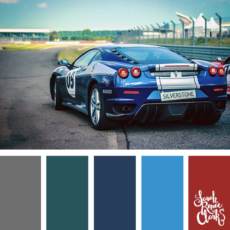 Teal, blue, red, gray - Color Inspiration | Click for more color combinations and color palettes inspired by the Pantone Fall 2017 Color Trends, plus other coloring inspiration at http://sarahrenaeclark.com | Colour palettes, colour schemes, color therapy, mood board, color hue