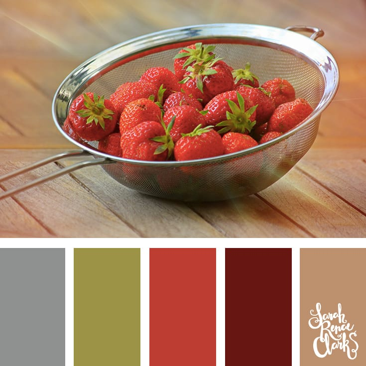 Strawberry colors | Click for more color combinations and color palettes inspired by the Pantone Fall 2017 Color Trends, plus other coloring inspiration at http://sarahrenaeclark.com | Colour palettes, colour schemes, color therapy, mood board, color hue