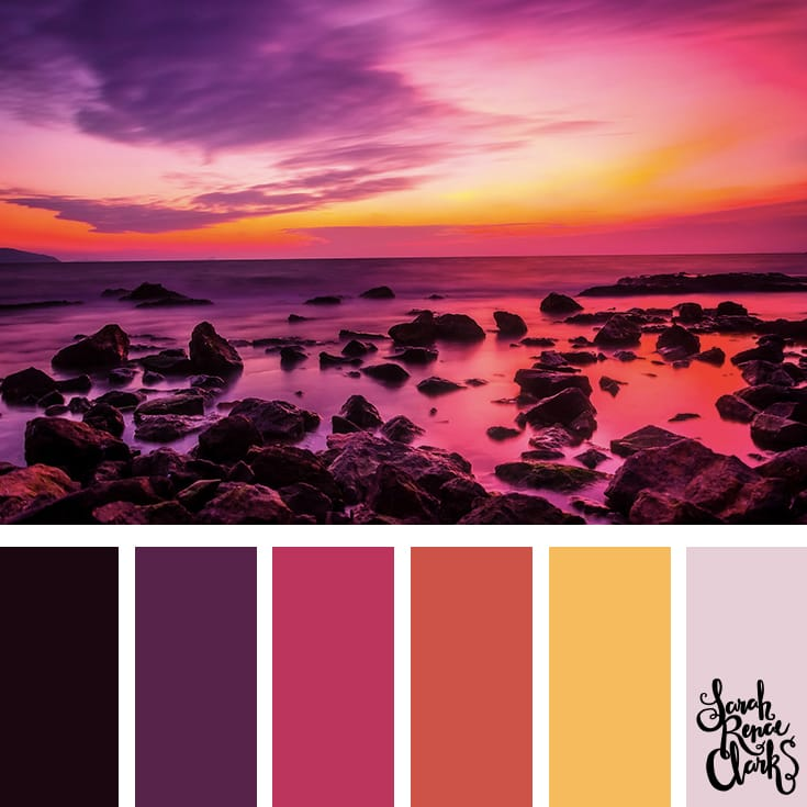 A beautiful sunset for color Inspiration | Click for more color combinations and color palettes inspired by the Pantone Fall 2017 Color Trends, plus other coloring inspiration at http://sarahrenaeclark.com | Colour palettes, colour schemes, color therapy, mood board, color hue