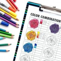 This free color combination chart is great for practicing blending and testing color combinations for adult coloring pages. Get it at www.sarahrenaeclark.com