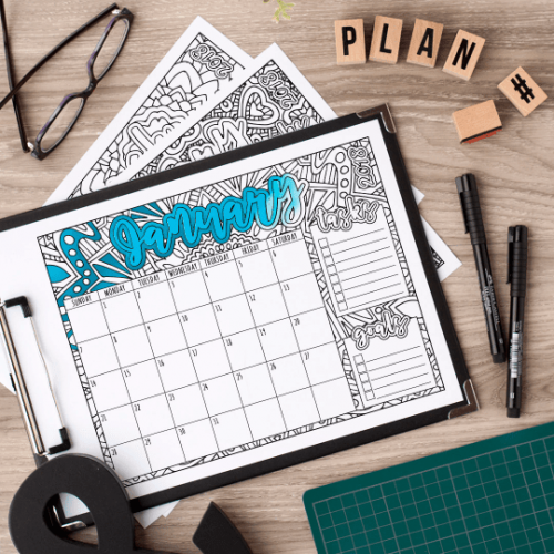 2018 Printable Coloring Calendar | Monthly calendar to print and color in | www.sarahrenaeclark.com