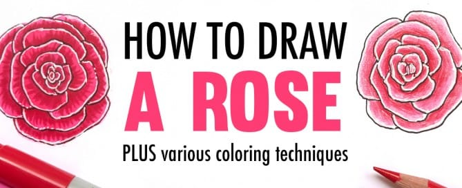 Learn how to draw a rose with this video tutorial, plus see the difference between 2 coloring techniques with markers and pencils. | www.SarahRenaeClark.com | coloring tutorials, coloring techniques, how to draw, drawing video, coloring page tips