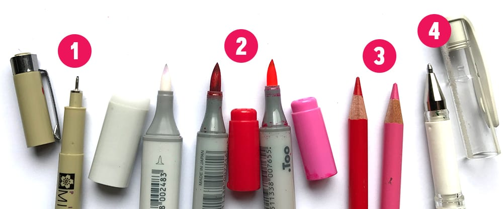 Draw a rose using these coloring tools - compare markers to pencils | www.sarahrenaeclark.com