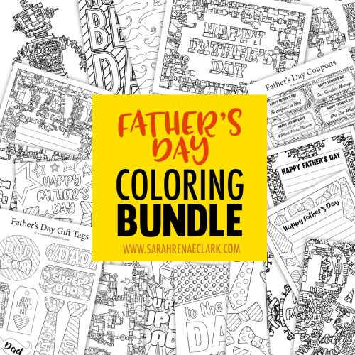 Spoil dad with this Father's Day Coloring Bundle! Includes over 60 pages of coloring activities to make a special gift for dad: Father's Day gift tags, Father's Day letterheads, Father's Day coupons, Father's Day cards, an adult coloring book and 3 bonus Father's Day coloring pages. | Find out more at http://sarahrenaeclark.com