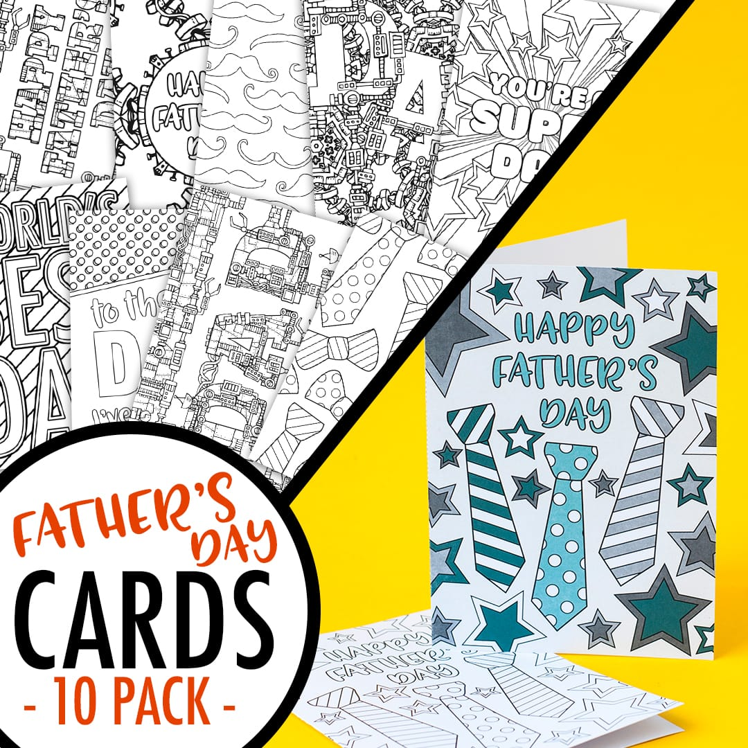 image relating to Printable Fathers Day Card identify Fathers Working day Coloring Playing cards 10 Pack