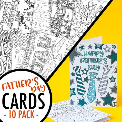 These printable Father's Day cards are fun to color in and a great way to personalize your Father's Day gift! Includes 10 printable cards to color in | Find more Father's Day printables and coloring pages at https://sarahrenaeclark.com/shop/cat/seasonal/fathers-day/