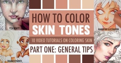 Learn how to color skin tones with colored pencils or markers with these 10 video tutorials. | How to Color Skin Tones | 10 Video Tutorials on Skin Coloring Techniques with Colored Pencils or Markers | Three-part series by Sarah Renae Clark