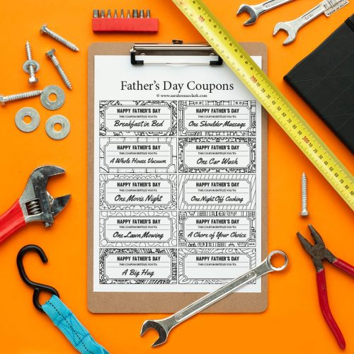 Spoil dad with these printable Father's Day Coupons! Find more Father's Day printables and free coloring pages at https://sarahrenaeclark.com/shop/cat/seasonal/fathers-day/