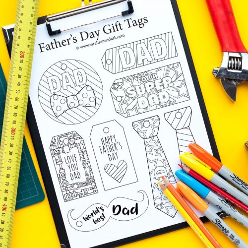 These printable Father's Day gift tags are fun to color in and a great way to personalize your Father's Day gift! 8 Designs available to color for Father's Day | Find more Father's Day printables and free coloring pages at https://sarahrenaeclark.com/shop/cat/seasonal/fathers-day/