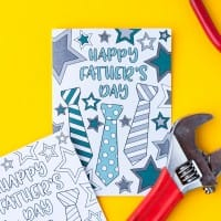 This free printable Father's Day card is fun to color in and a great way to personalize your Father's Day gift! This is a sample card from my pack of 10 coloring cards for Father's Day   Find more Father's Day printables and free coloring pages at https://sarahrenaeclark.com/shop/cat/seasonal/fathers-day/