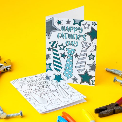 This free printable Father's Day card is fun to color in and a great way to personalize your Father's Day gift! This is a sample card from my pack of 10 coloring cards for Father's Day | Find more Father's Day printables and free coloring pages at https://sarahrenaeclark.com/shop/cat/seasonal/fathers-day/