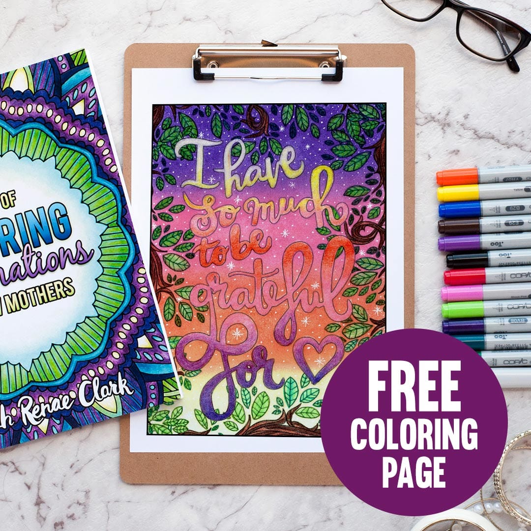 Try a galaxy background on this coloring page! See the full galaxy tutorial at www.sarahrenaeclark.com | #galaxy #adultcoloring