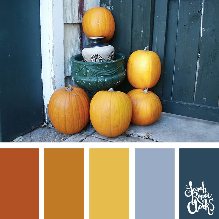 Pumpkins color scheme | Click for more fall color combinations, mood boards and seasonal color palettes at http://sarahrenaeclark.com