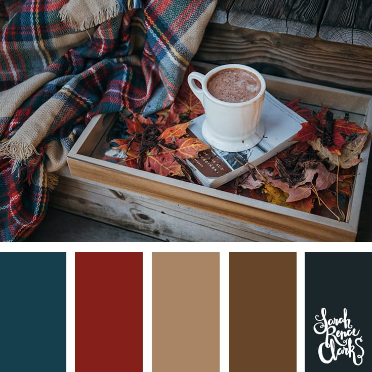 Warm vibes for Autumn! | Click for more fall color combinations, mood boards and seasonal color palettes at http://sarahrenaeclark.com