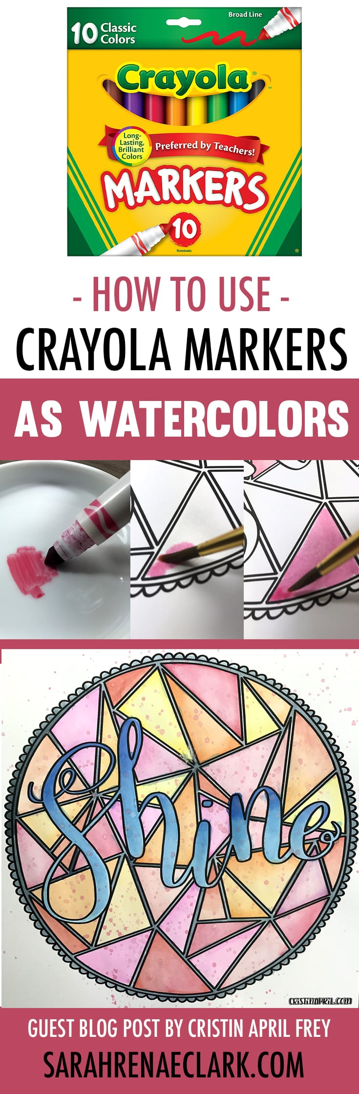 What a clever Crayola hack! Use your Crayola markers as watercolor paints. Check out the step-by-step photos and video tutorial, plus other adult coloring hacks at www.sarahrenaeclark.com | How to use Crayola markers as watercolors