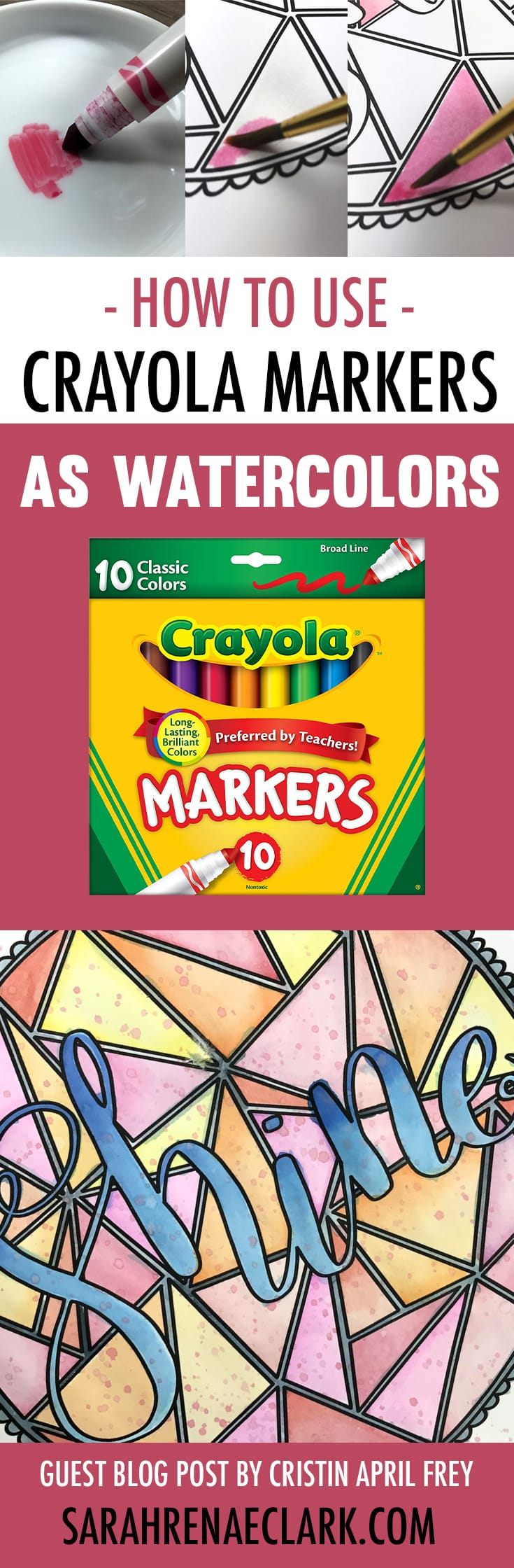 In this coloring tutorial, Cristin will show you how to create beautiful watercolor effects using cheap Crayola markers and water. Check out the step-by-step photos and video tutorial, plus other adult coloring hacks at www.sarahrenaeclark.com | How to use Crayola markers as watercolors