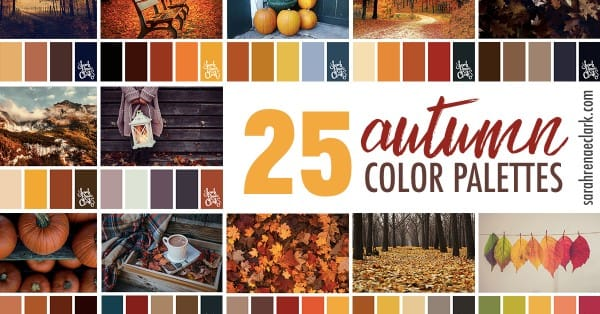 25 Autumn color schemes | Click for more fall color combinations, mood boards and seasonal color palettes at https://sarahrenaeclark.com