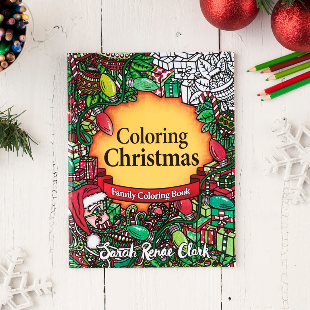Coloring Christmas family coloring book - a great Christmas coloring activity! Get more Christmas printables at www.sarahrenaeclark.com/christmas