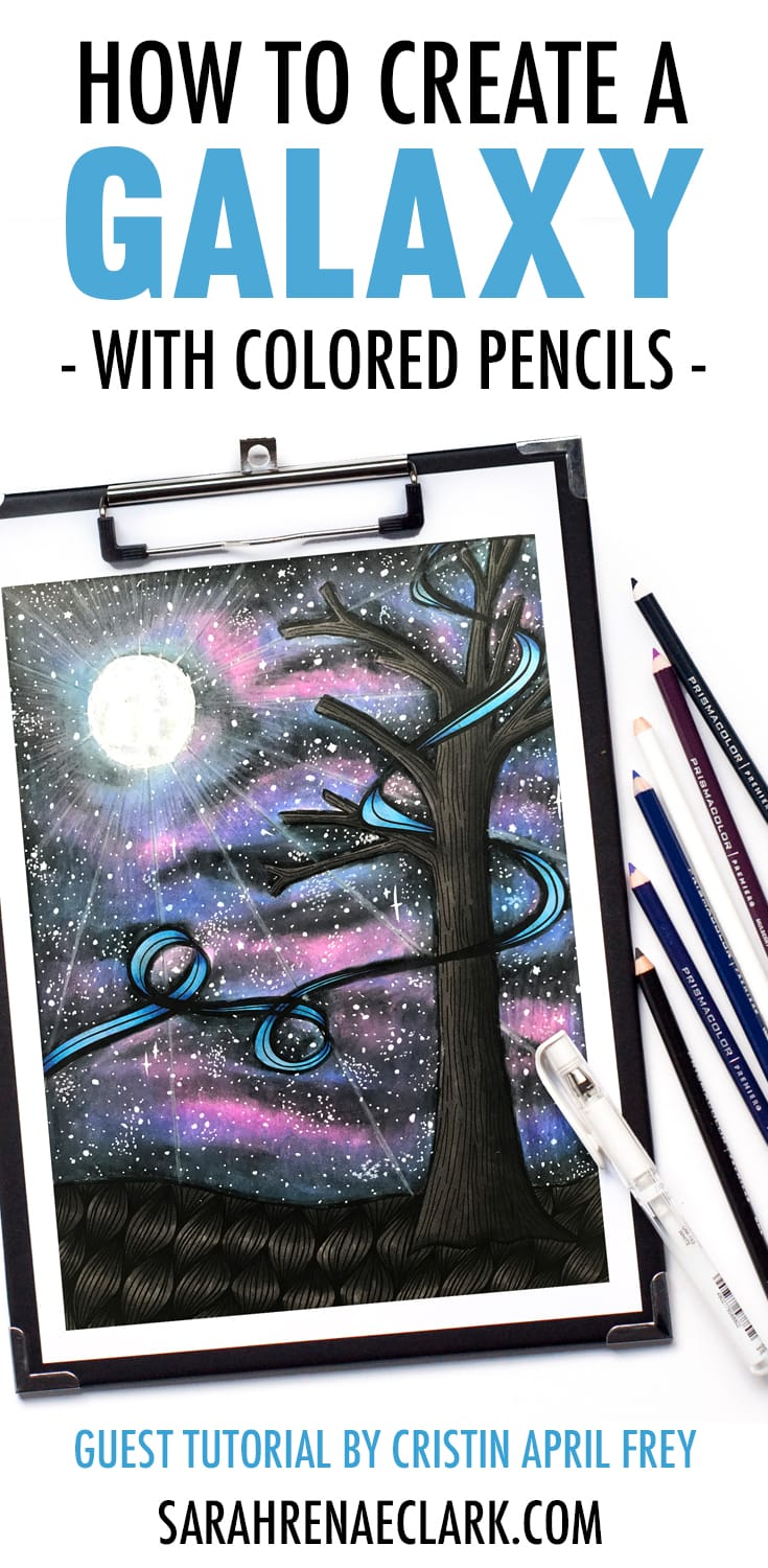 How to create a galaxy background with colored pencils | Prismacolor starry night coloring tutorial by Cristin April Frey | See the full galaxy tutorial at www.sarahrenaeclark.com | #prismacolor #galaxy #adultcoloring