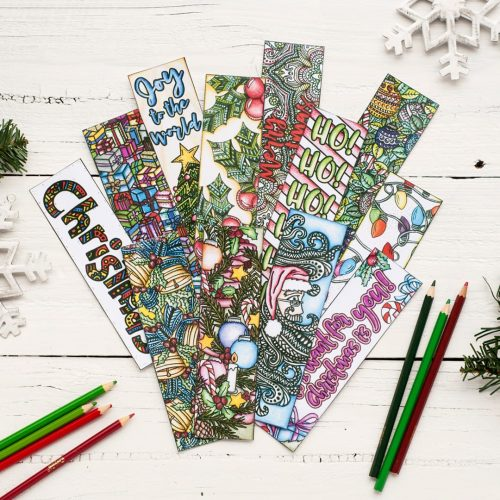 DIY Christmas bookmarks – 12 printable coloring bookmark templates | Find more Christmas printable activities and coloring pages at www.sarahrenaeclark.com/christmas