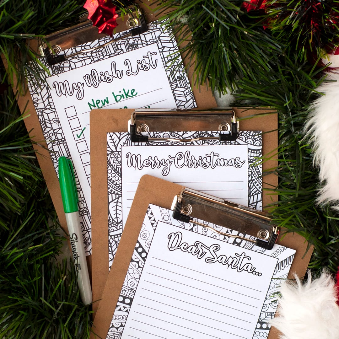 DIY Christmas letters – 3 printable coloring page letter templates for Christmas | Find more Christmas printable activities and coloring pages at www.sarahrenaeclark.com/christmas