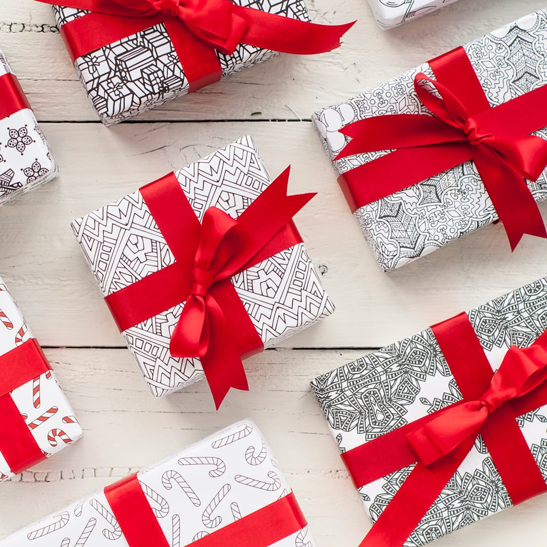 picture relating to Printable Christmas Wrapping Paper named Printable Xmas Wrapping Paper 8 Pack